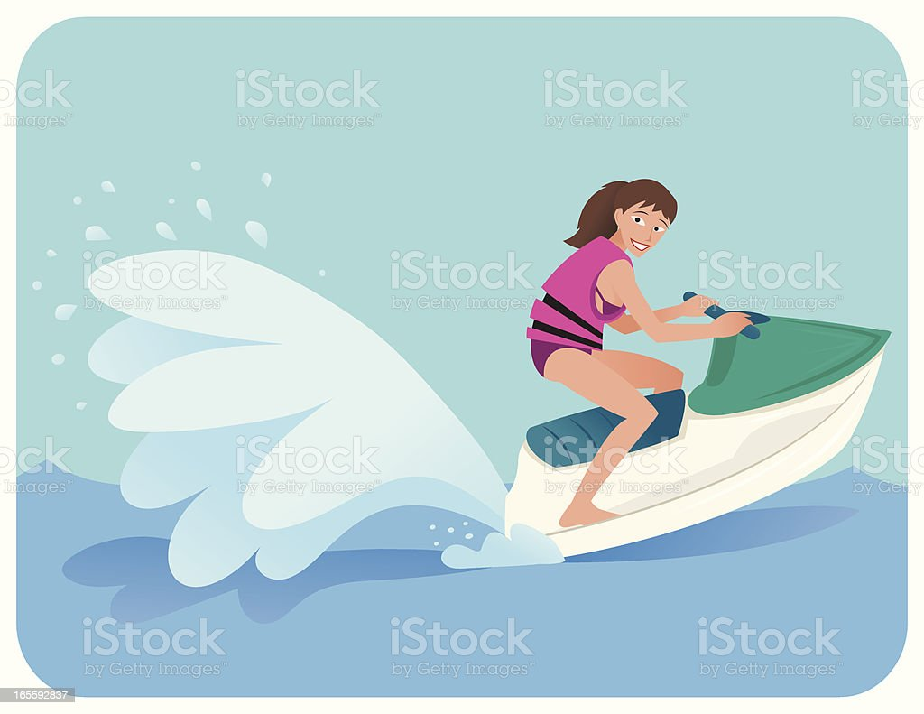 Jet Skiing Girl royalty-free stock vector art