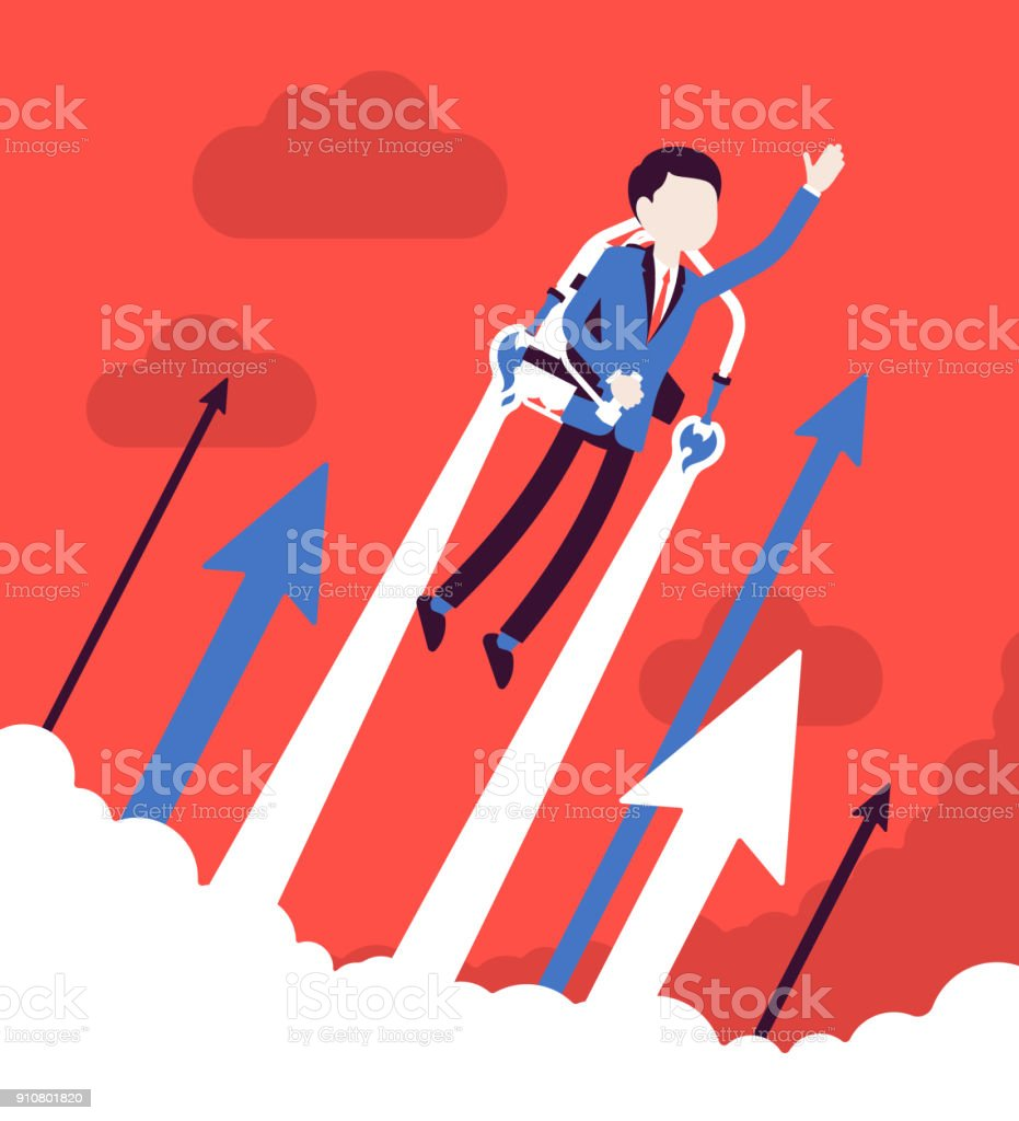 Jetpack businessman flight royalty-free jetpack businessman flight stock illustration - download image now