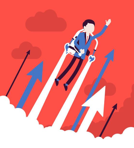 illustrations, cliparts, dessins animés et icônes de vol d'affaires jetpack - entrepreneur