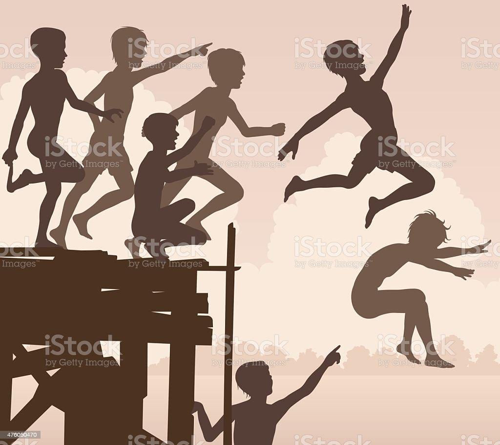 Jetty jumping boys vector art illustration