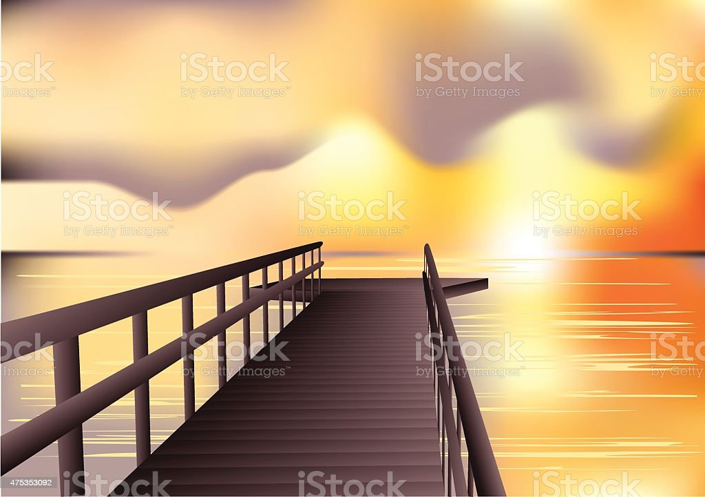 jetty sunrise vector art illustration
