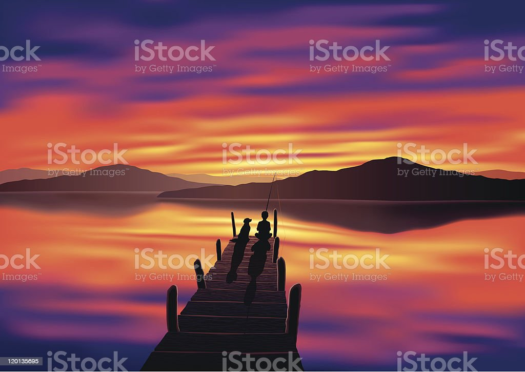Jetty, Sunset and Boy Fishing with Dog vector art illustration
