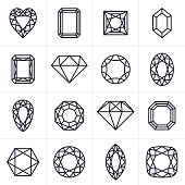 Jewel and Gem cut faceted symbol icon collection. EPS 10 file. Transparency effects used on highlight elements.