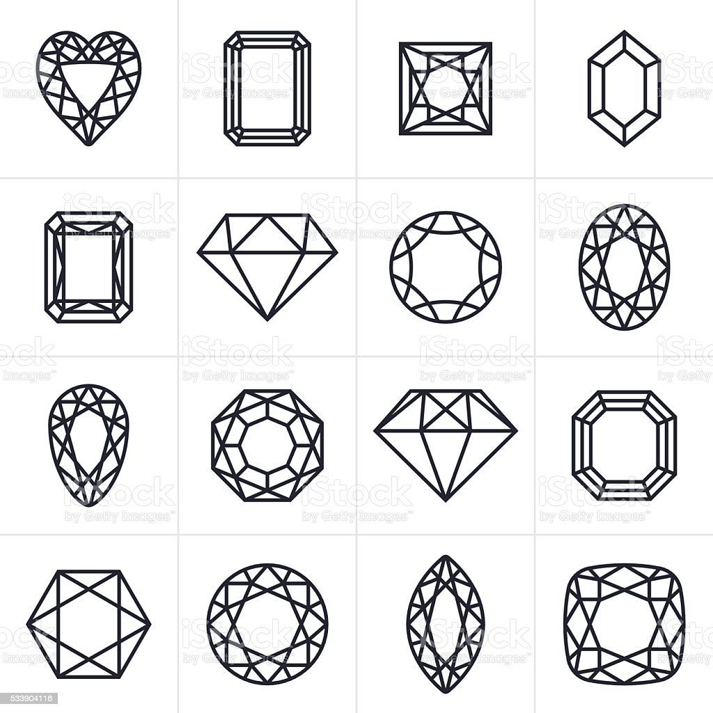 Jewel and Gem Cut Icons and Symbols vector art illustration