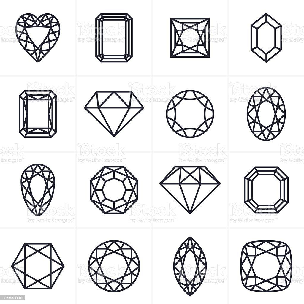 Juwel und Schmuckstein-Icons und Symbole – Vektorgrafik