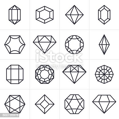Jewel and Gem cut faceted symbol icon collection.