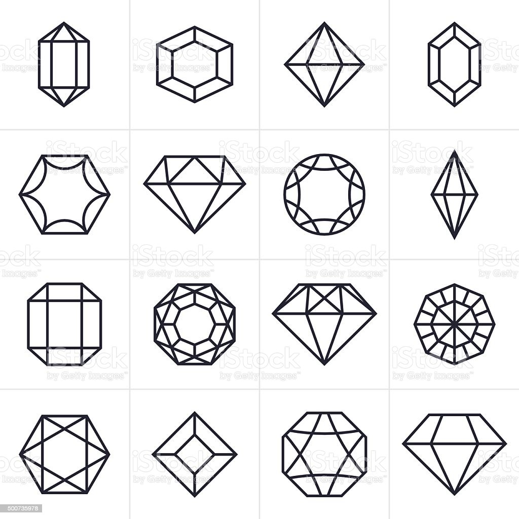 Jewel und Schmuckstein-Icons und Symbole – Vektorgrafik