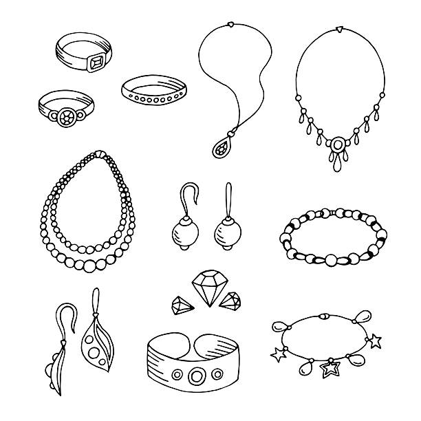 ilustraciones, imágenes clip art, dibujos animados e iconos de stock de jewel graphic black white isolated sketch illustration vector - joyas
