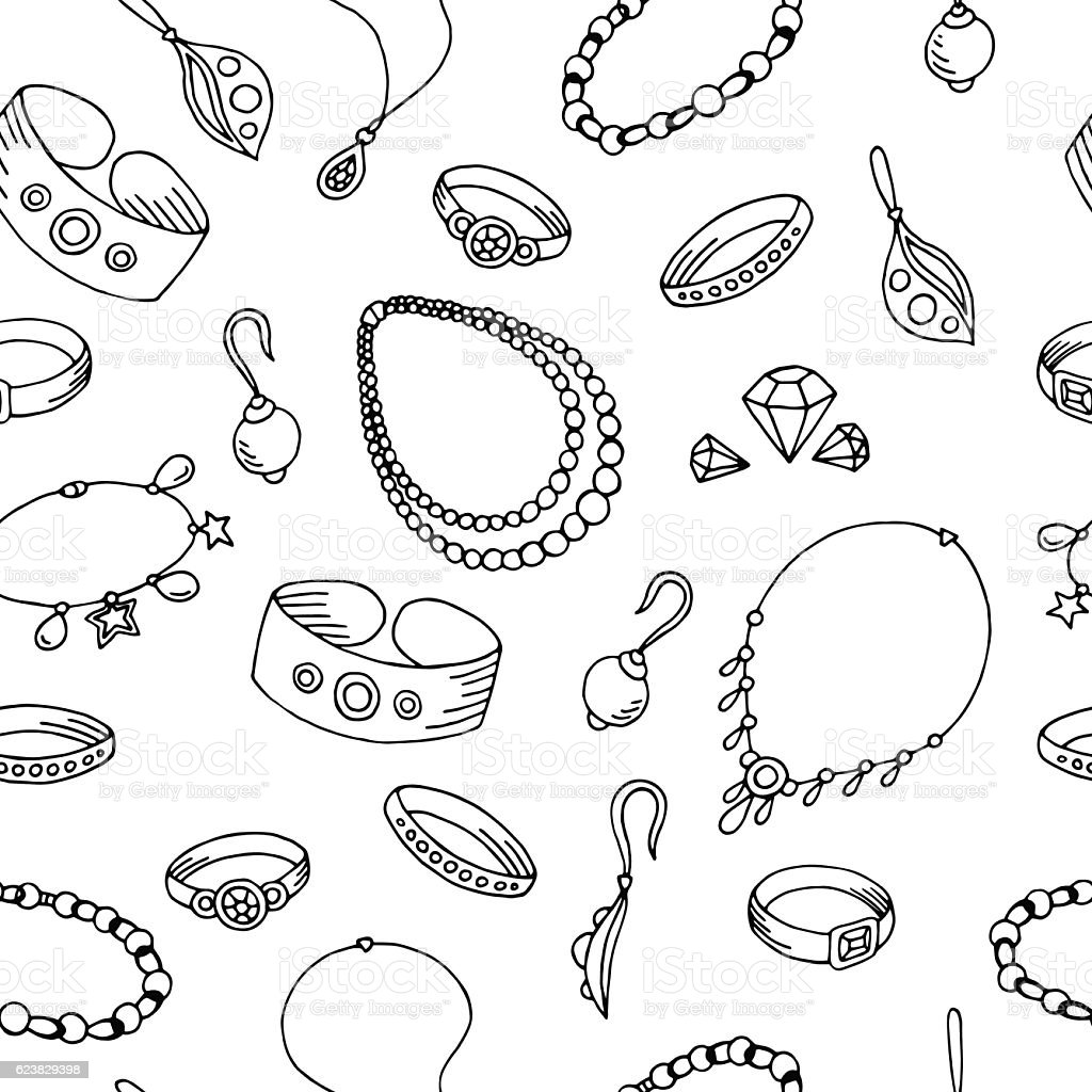 Jewel graphic black white seamless pattern sketch illustration vector - ilustración de arte vectorial