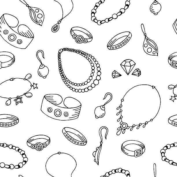 ilustraciones, imágenes clip art, dibujos animados e iconos de stock de jewel graphic black white seamless pattern sketch illustration vector - joyas