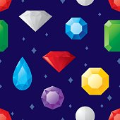 Vector illustration of various jewels in a repeating pattern.