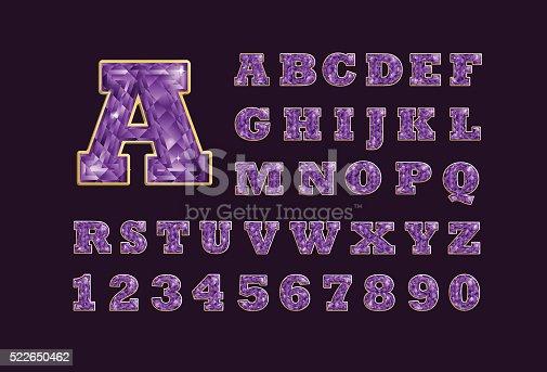 istock Jeweled Amethyst precious stone latin abc alphabet 522650462