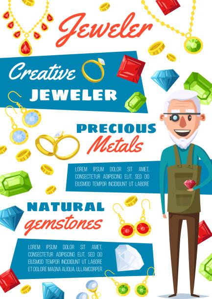 juwelier-gutachter-beruf, schmuckreparatur - glasohrringe stock-grafiken, -clipart, -cartoons und -symbole