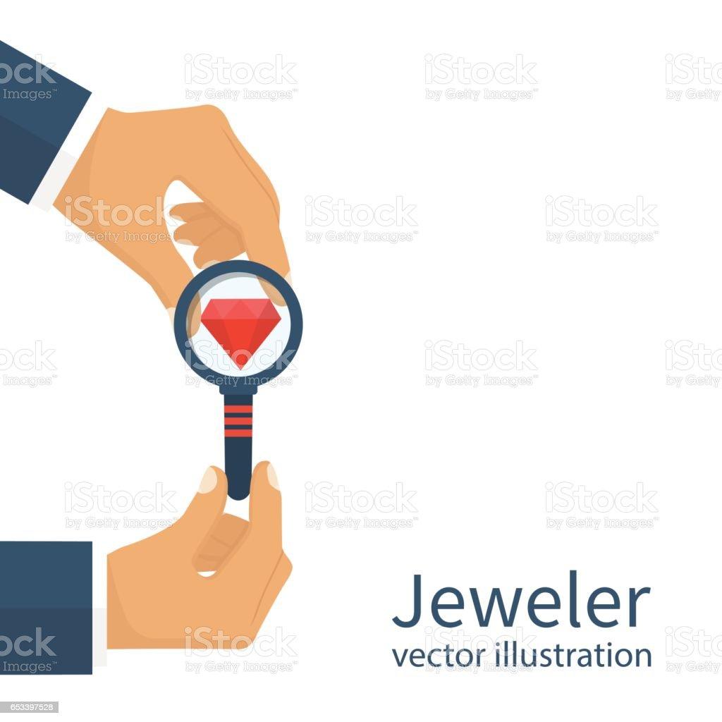 Jeweler  looking  diamond vector art illustration