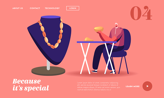 Jeweler Male Character in Workshop Making Jewelry of Amber Landing Page Template. Goldsmith Workplace with Mannequin