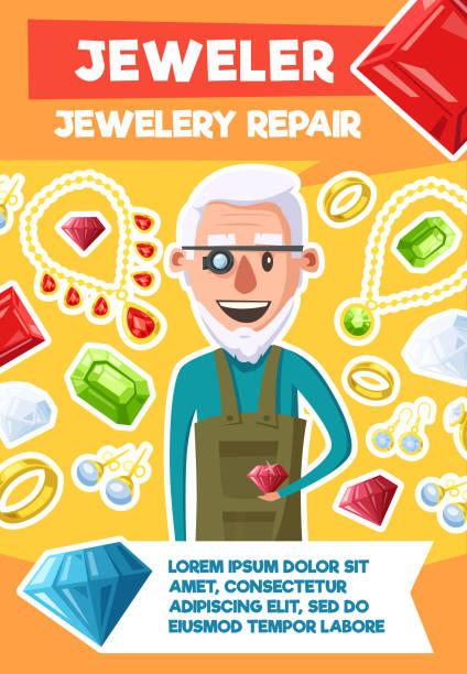 juwelier-beruf und juwel reparatur vektor poster - glasohrringe stock-grafiken, -clipart, -cartoons und -symbole