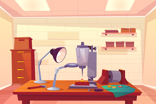 Jeweler workplace with work tools cartoon vector