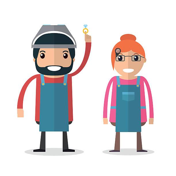illustrazioni stock, clip art, cartoni animati e icone di tendenza di orefice masters. uomo e donna. - uomo artigiano gioielli