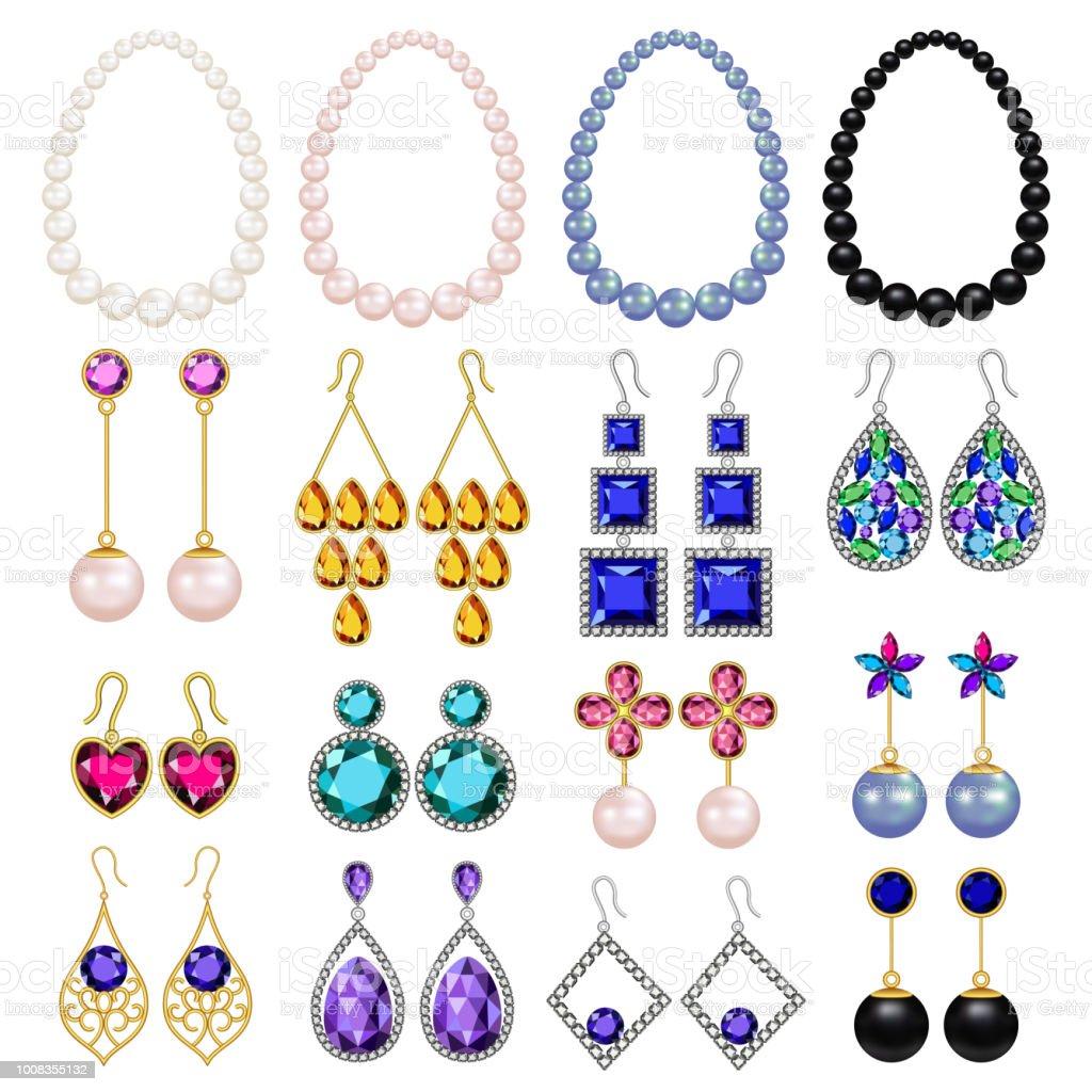 80711bff03e9 Ilustración de Joyas Mujer Lujo Maqueta Conjunto Estilo Realista y ...