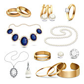 Beautiful fashionable gold and silver jewelry and accessories realistic set isolated on white background vector illustration