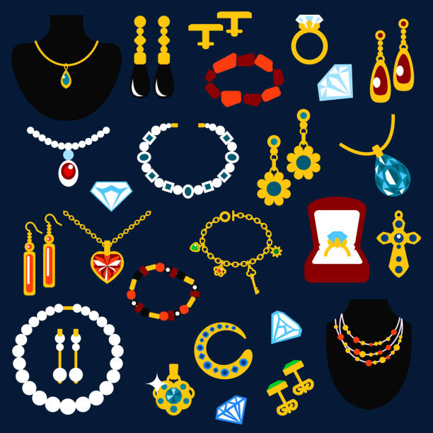 schmuck und juwelen flache symbole - kreuzkette stock-grafiken, -clipart, -cartoons und -symbole