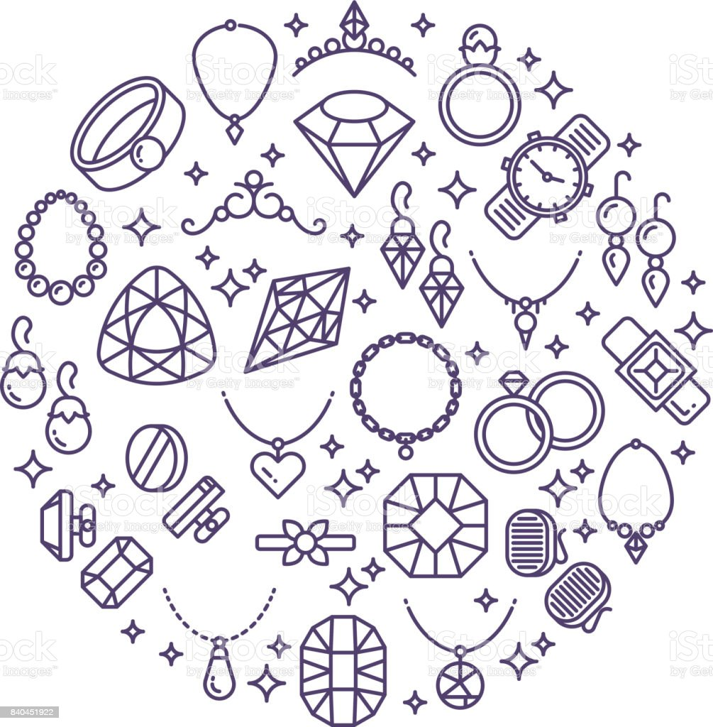 Jewelry and gemstones line vector icons. Luxury concept for jewelry store vector art illustration