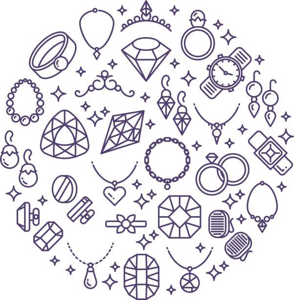 ilustrações, clipart, desenhos animados e ícones de joias e pedras preciosas ícones vetor linha. conceito de luxo para joalheria - jóia