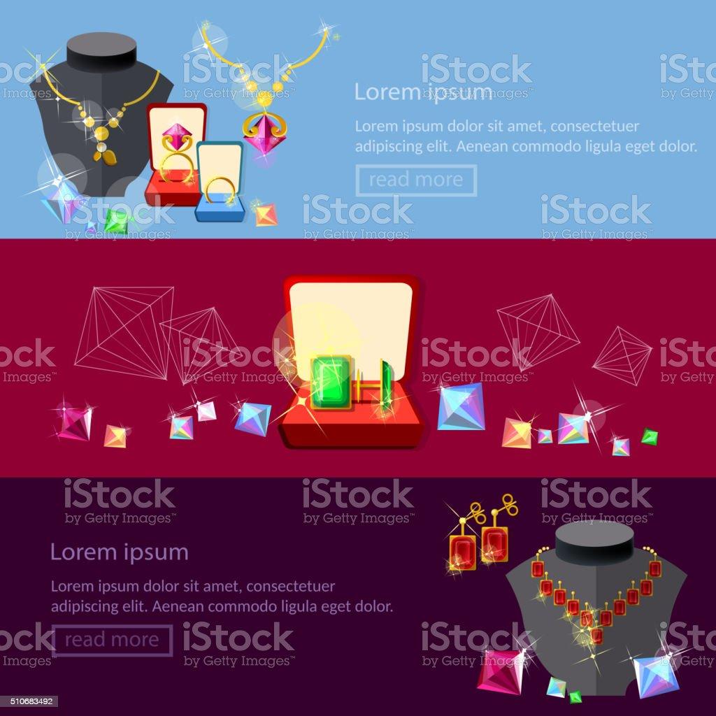 Jewelry banners jewels earrings rings gems pendants vector art illustration