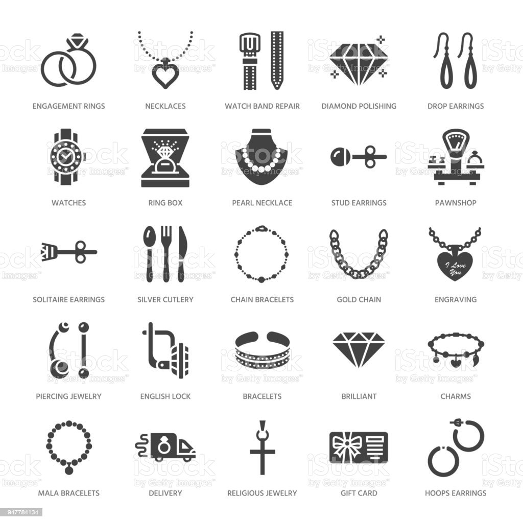 Jewelry flat glyph icons, jewellery store signs. Jewels accessories - gold engagement rings, gem earrings, silver chain, necklaces, brilliants. Solid silhouette for fashion store. Pixel perfect 64x64 vector art illustration