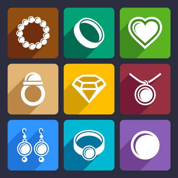 illustrazioni stock, clip art, cartoni animati e icone di tendenza di gioielli set di icone piatto 33 - earring ring