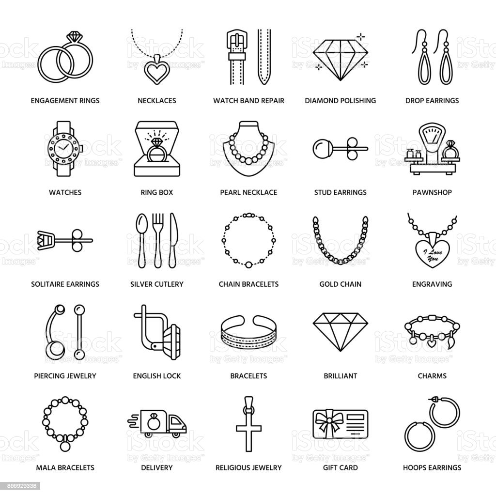 Jewelry flat line icons, jewellery store signs. Jewels accessories - gold engagement rings, gem earrings, silver chain, engraving necklaces, brilliants. Thin linear signs for fashion store vector art illustration