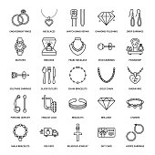 Jewelry flat line icons, jewellery store signs. Jewels accessories - gold engagement rings, gem earrings, silver chain, engraving necklaces, brilliants. Thin linear signs for fashion store