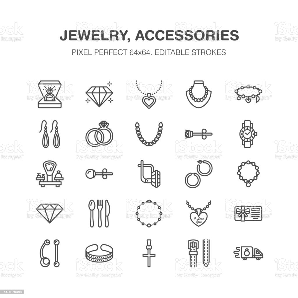 Jewelry flat line icons, jewellery store signs. Jewels accessories - gold engagement rings, gem earrings, silver chain, engraving necklaces, brilliants. Thin signs fashion store. Pixel perfect 64x64 vector art illustration