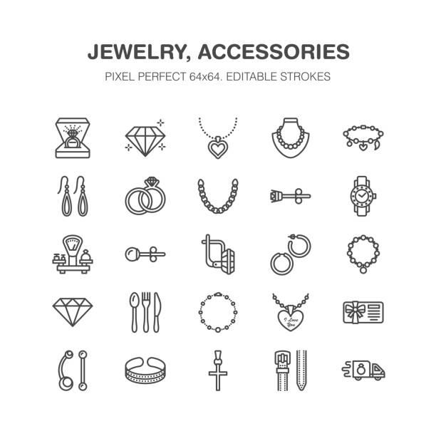 ilustraciones, imágenes clip art, dibujos animados e iconos de stock de iconos de línea plana de la joyería, joyería almacenar muestras. joyas accesorios - anillos de compromiso oro joya aretes, cadena de plata, collares de grabado, brillantes. tienda de moda de muestras delgadas. pixel perfecto 64 x 64 - joyas