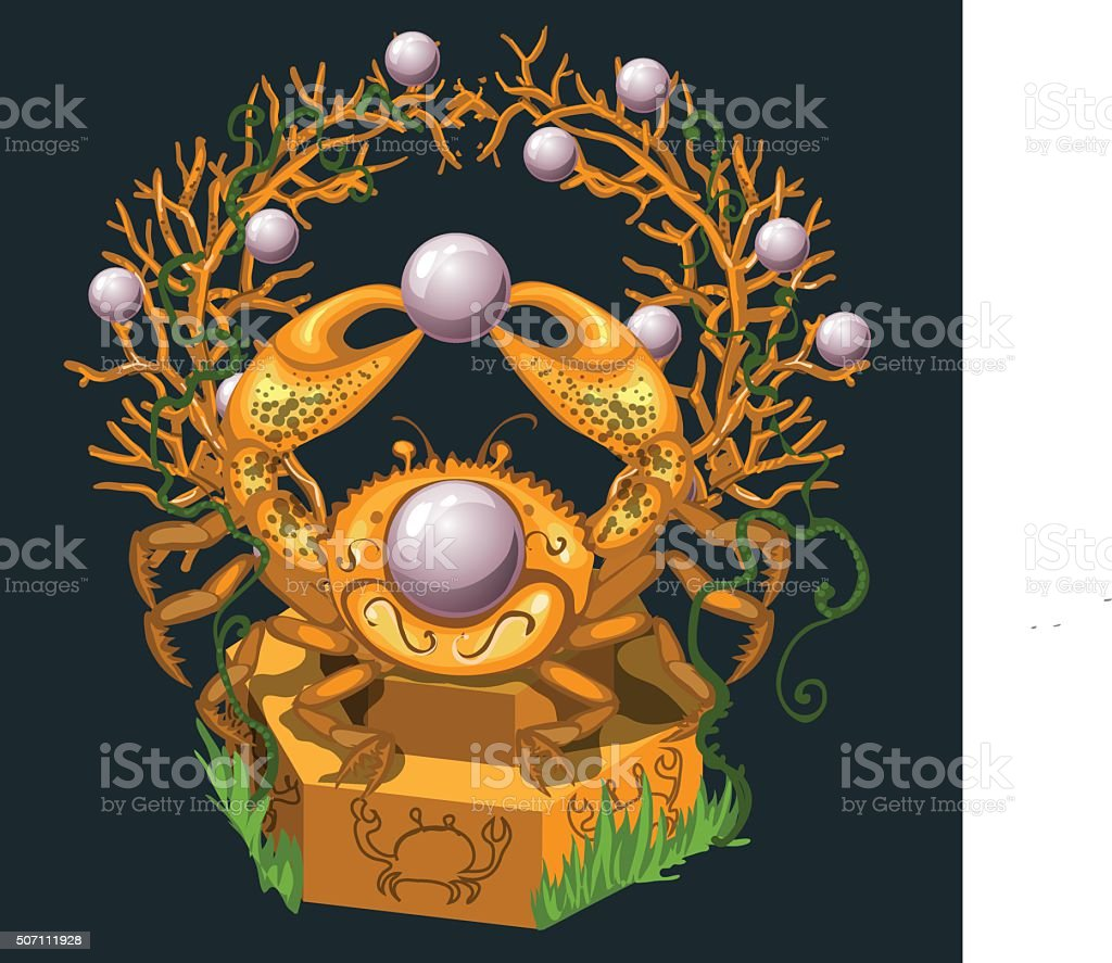 Jewelry from the Golden crab and large pearls vector art illustration