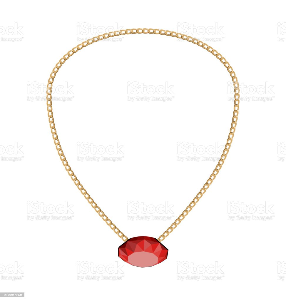 Jewelry Golden Chain with Red Diamand vector art illustration