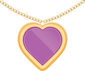Vector illustration of jewelry heart on a chain.