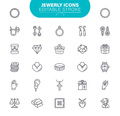 Jewelry Icons. Set contains icon as Gemstones, Jewel, Accessories, Ring, Illustration