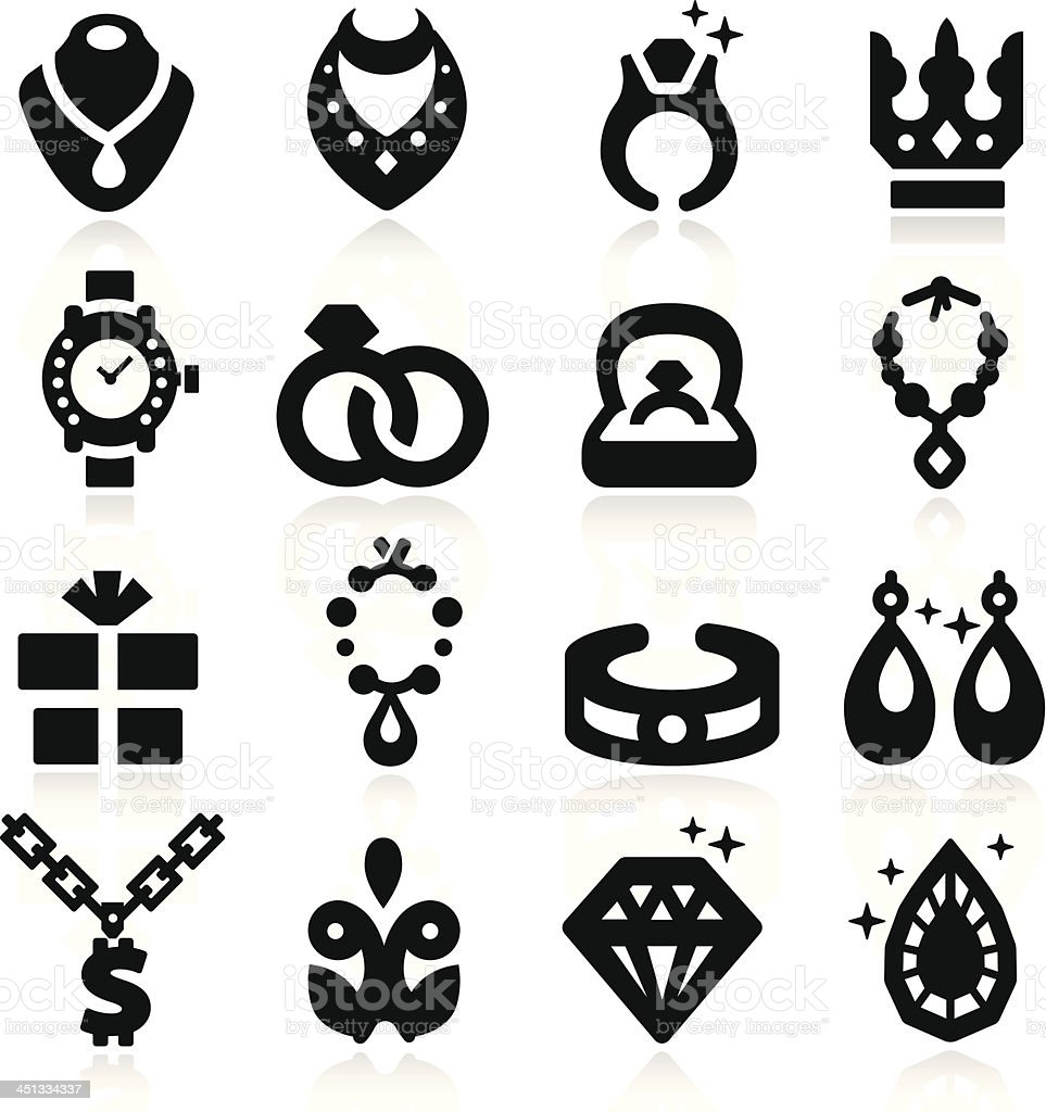 Jewelry Icons vector art illustration