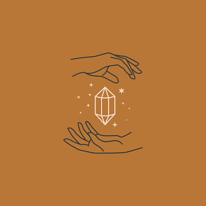 Jewelry logo design templates in trendy linear and minimal style. Vector emblems with a woman's hand