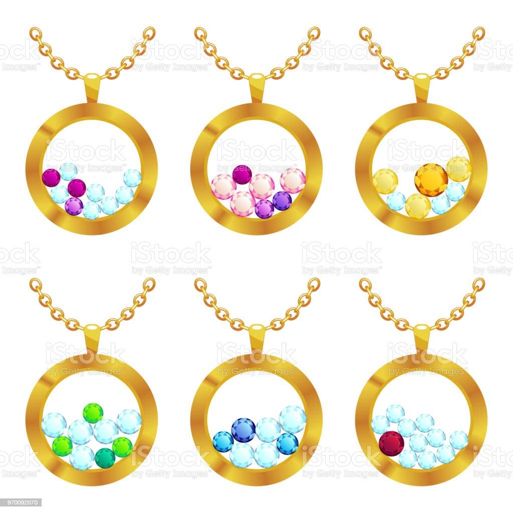 70ff2b39eba8 Colgantes joyería ronda forma con oro y piedras preciosas collares de diseño  de la tienda de