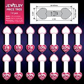 Heart shaped jewelry price tags set.