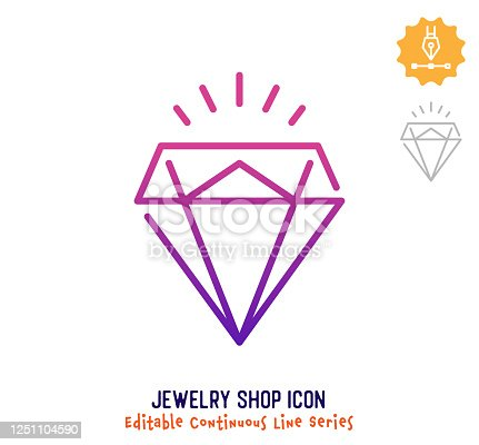 Jewelry shop vector icon illustration for logo, emblem or symbol use. Part of continuous one line minimalistic drawing series. Design elements with editable gradient stroke line.