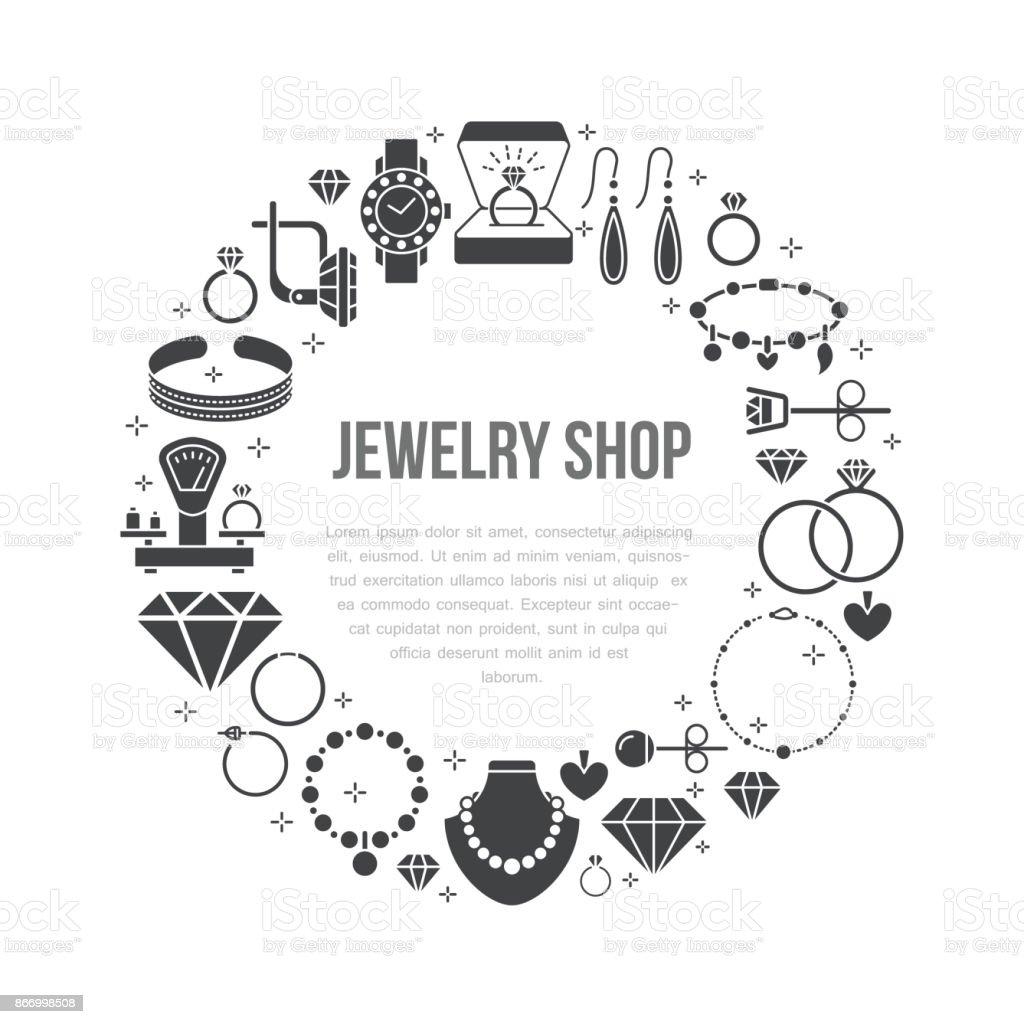 7b6407b320a Joyería, accesorios de diamantes bandera ilustración. Vector icono de línea  de glifo de joyas