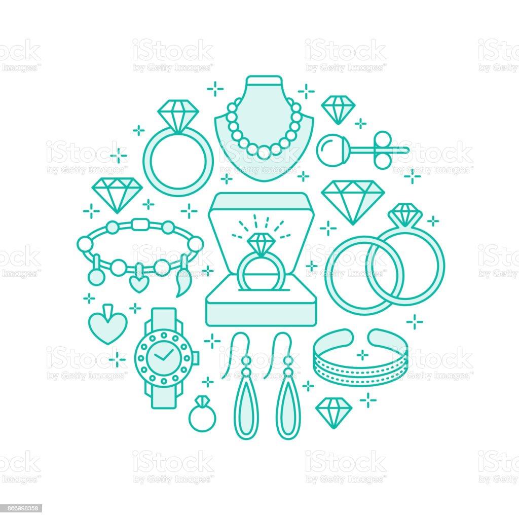 a20ce0e4584 Joyería, accesorios de diamantes bandera ilustración. Icono de vector línea  de joyas - relojes