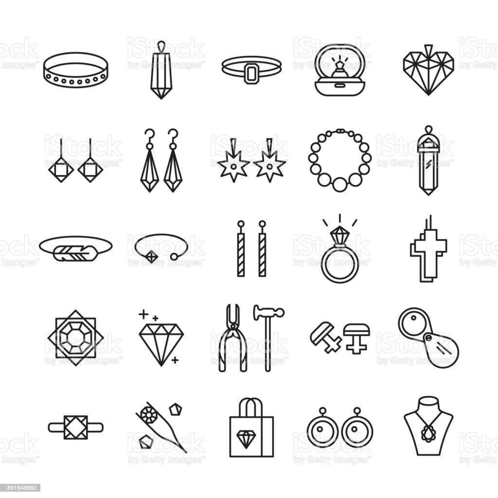 Jewelry shop icons. vector art illustration