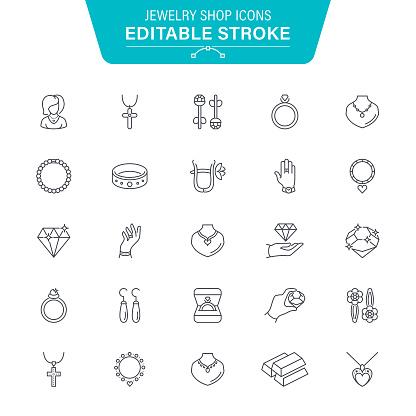 Jewelry Shop Line Icons