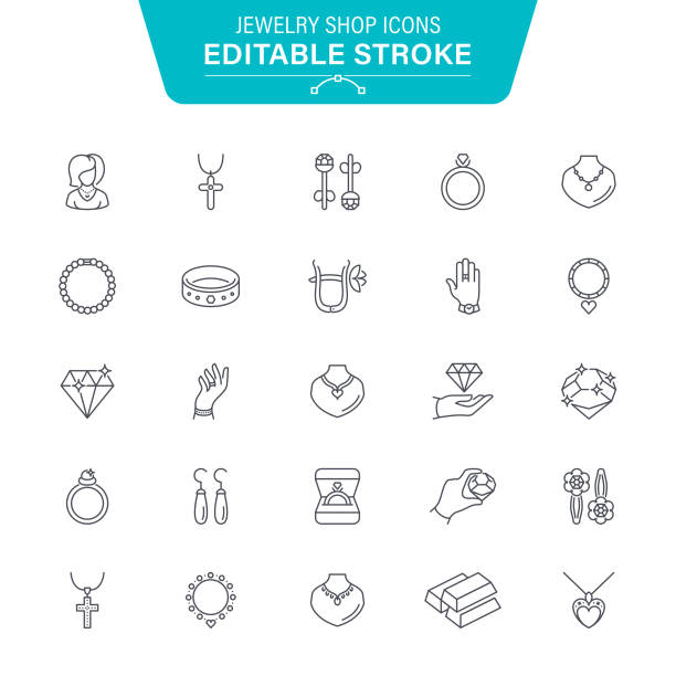 jewelry shop line icons - jewelry stock illustrations