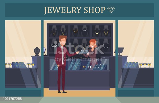 Jewelry shop showcase with man choosing ring for wedding