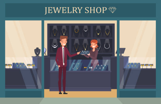 jewelry shop showcase with man choosing ring - jewelry stock illustrations
